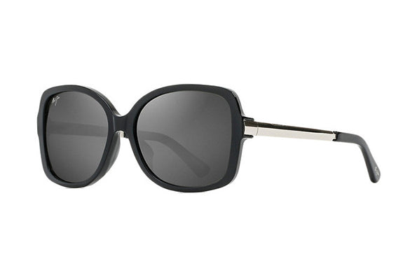 MAUI MELIKA GS760-02 BLACK GLOSS WITH SILVER TEMPLE (NEUTRAL GREY POLARISED LENS)