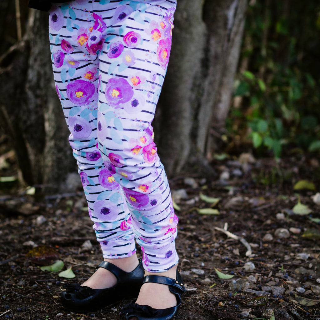 Vibrant striped floral Leggings