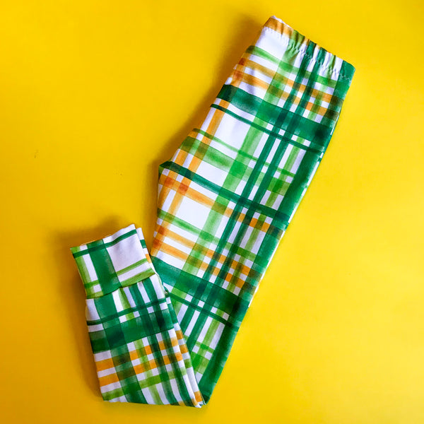 Green & Yellow plaid Leggings