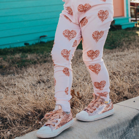 Rose Gold Hearts Leggings