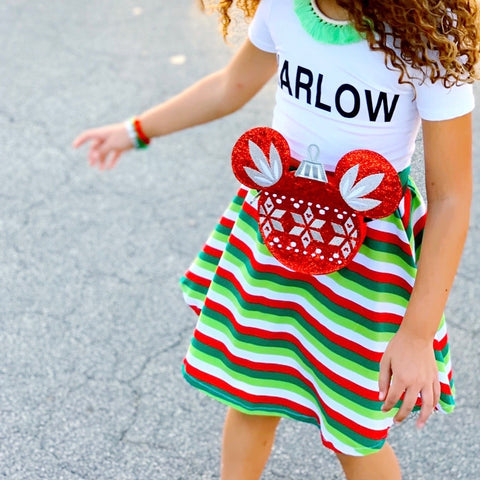 Holiday stripe skirt