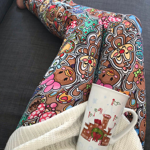 Gingerbread Pals Stacked womens leggings