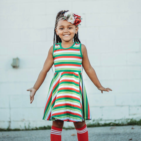 Holiday Stripe Twirl dress