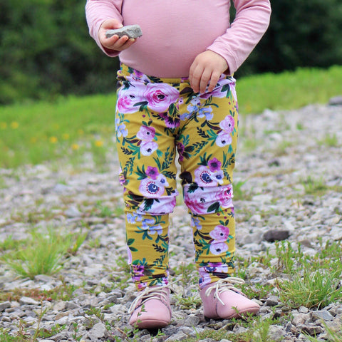 Mustard floral Leggings