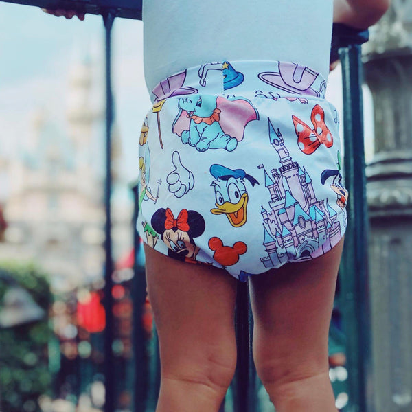 White doodle Shorts & Bummies