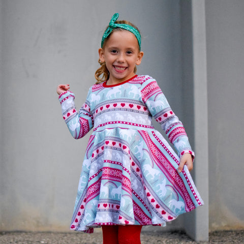Unicorn sweater Twirl dress