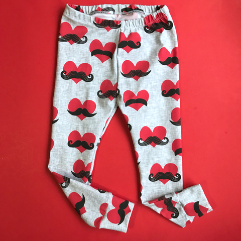 Mustache heart Leggings