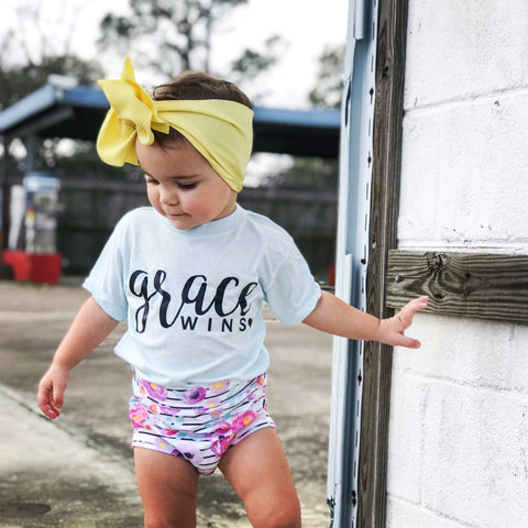 Vibrant striped floral Shorts & Bummies