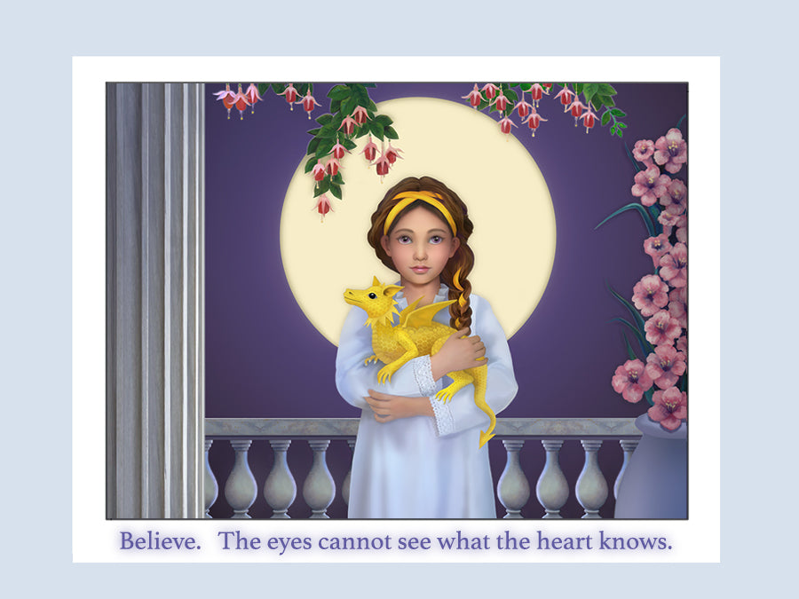 Believe. The eyes cannot see what the heart knows. Illustration of child with dragon and moon.
