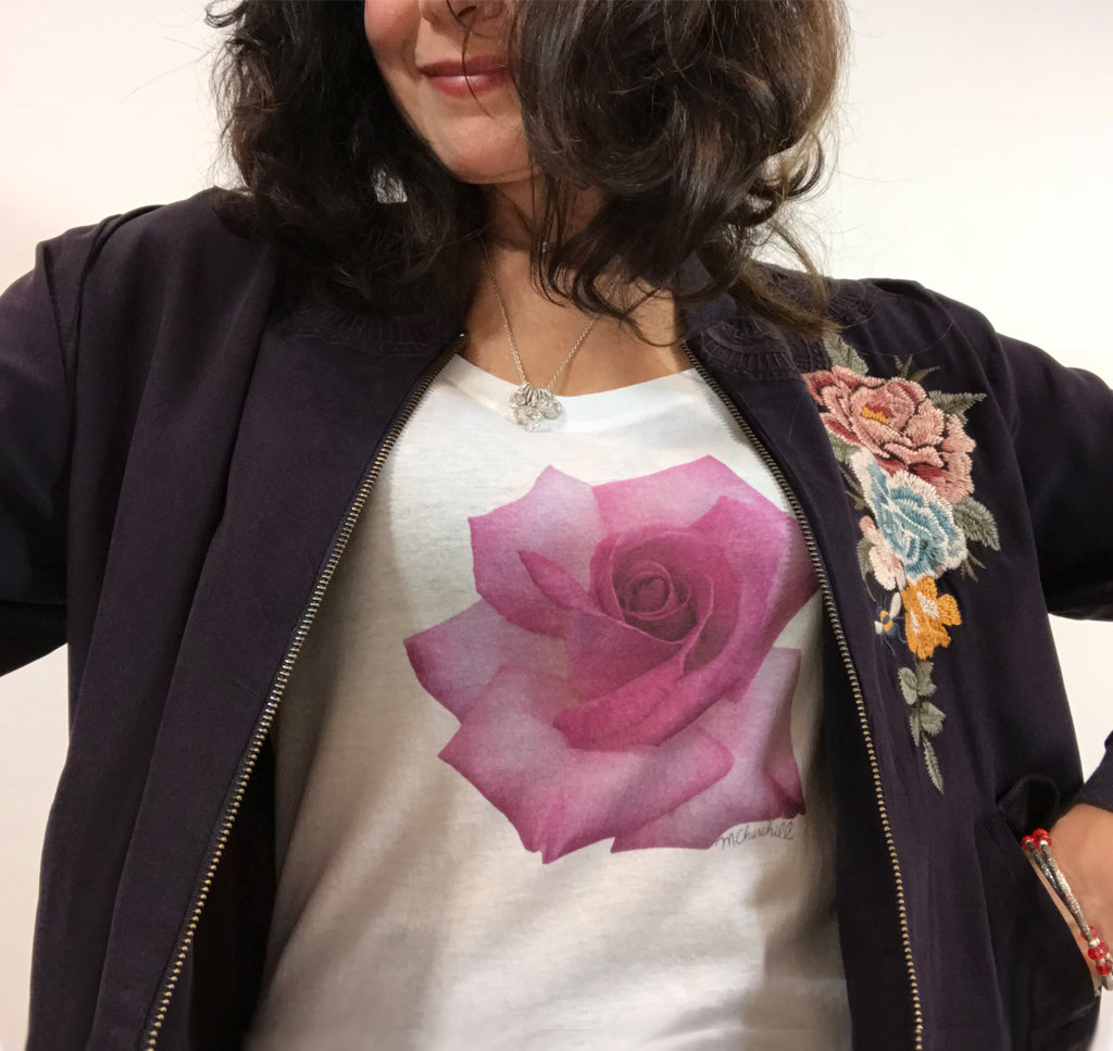 Women's Scoop Neck Pink Rose Tee