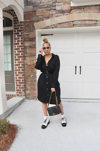Cargo Shirt Dress - Black