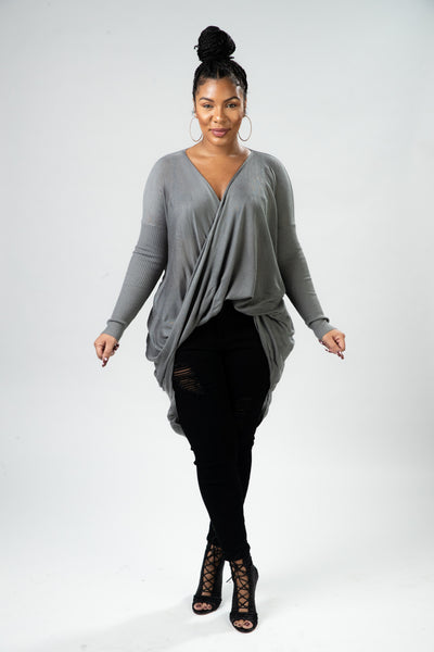 Draped in Grey Top - Shop Luxe Dolls