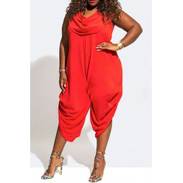 RUFFLE COLLAR ASYMMETRICAL JUMPSUIT