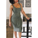 U-SHAPED BANDAGE GRAY DRESS