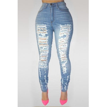 FADED HIGH WAIST RIPPED JEANS