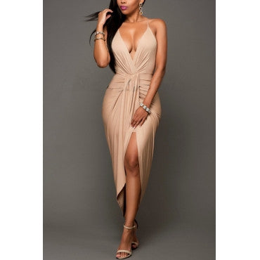 BACKLESS ASYMMETRICAL V-NECK DRESS