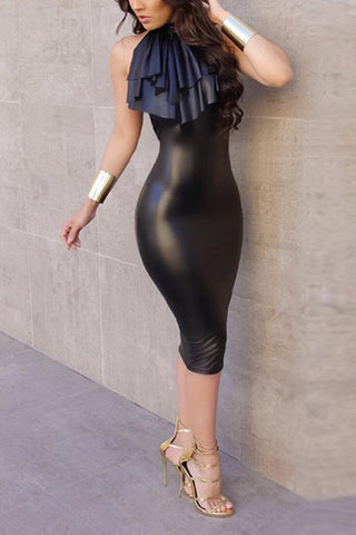 ROUND-NECK LEATHER KNEE-LENGTH DRESS