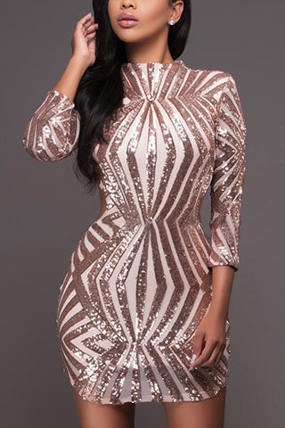 BACKLESS SEQUIN DRESS