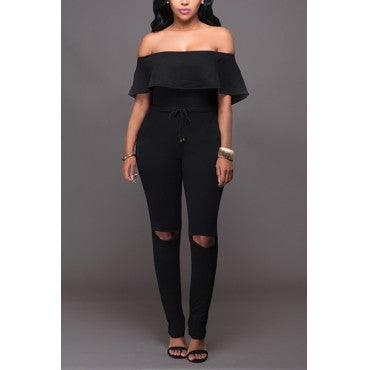 RUFFLED TOP BLACK JUMPSUIT