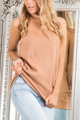 TURTLENECK BACKLESS SWEATER TOP