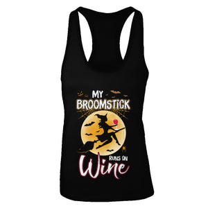 Funny Halloween My Broomstick Runs On Wine Witch T-Shirt & Tank Top | Teecentury.com