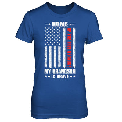 Home Of The Free Because My Grandson Is Brave Papa Grandma T-Shirt & Hoodie | Teecentury.com