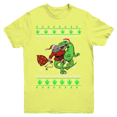 Santa Riding Dinosaur T-Rex Ugly Christmas Sweater Youth Youth Shirt | Teecentury.com