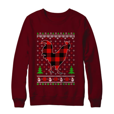 Funny Holiday Chicken Buffalo Plaid Ugly Christmas Sweater T-Shirt & Sweatshirt | Teecentury.com