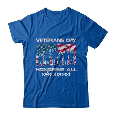 Vintage Patriotic Army Veterans Day Honoring All Who Reverd T-Shirt & Hoodie | Teecentury.com