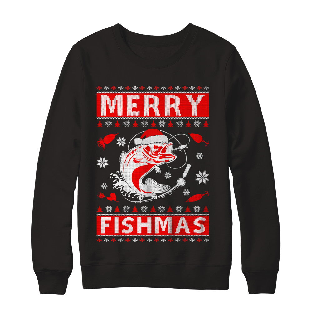 6d909fcf Merry Fishmas Fishing Fish Christmas Sweater T-Shirt & Sweatshirt |  Teecentury.com