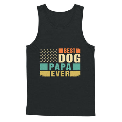 Vintage Retro BEST DOG PAPA EVER American Flag Fathers Day T-Shirt & Hoodie | Teecentury.com
