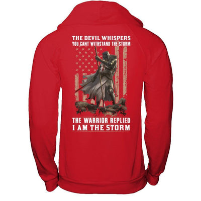 Knight Templar The Devil Whispers You Can't Withstand The Storm T-Shirt & Hoodie | Teecentury.com