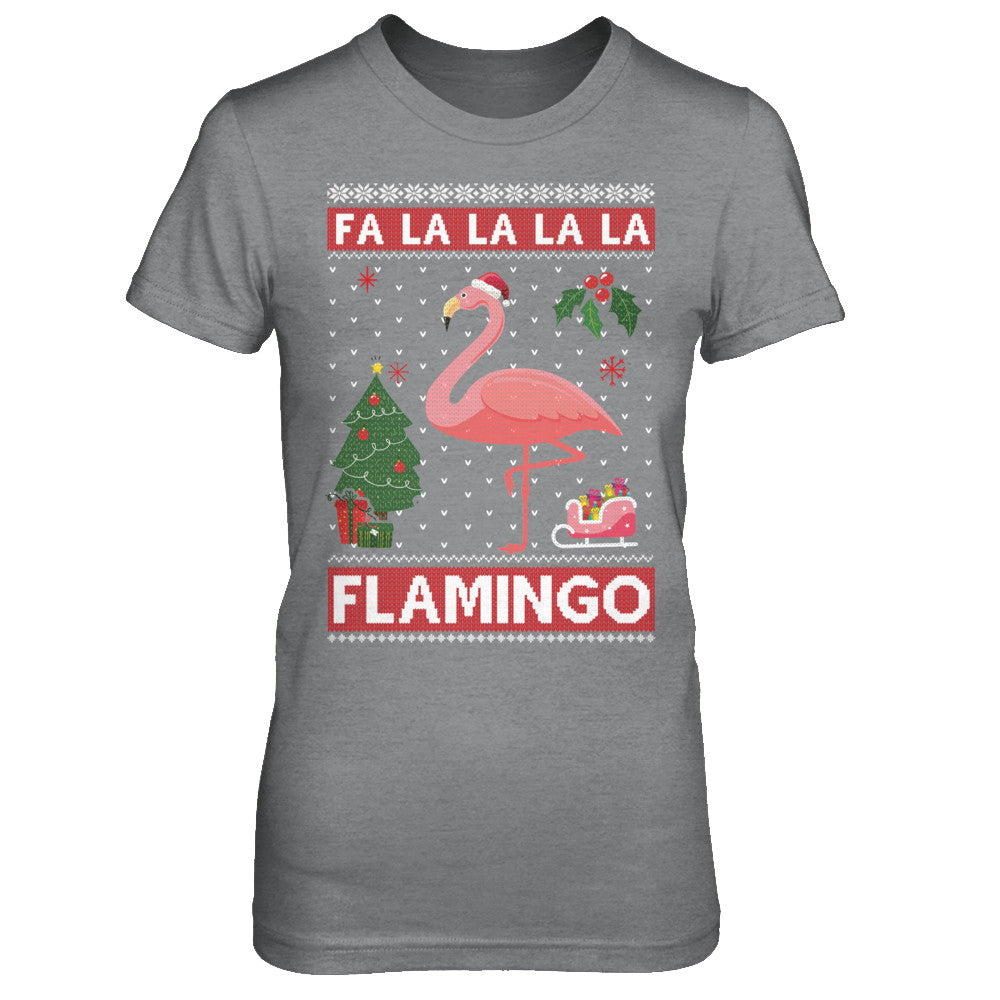cute pink flamingo santa hat merry christmas sweater