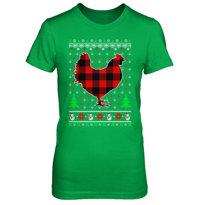 Funny Holiday Chicken Red Plaid Ugly Christmas Sweater T-Shirt & Sweatshirt | Teecentury.com