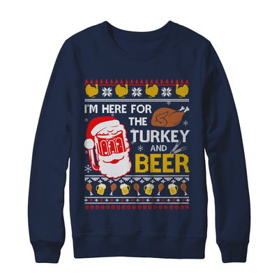 I Am Here For Turkey And Beer Ugly Sweater Thanksgiving T-Shirt & Sweatshirt | Teecentury.com