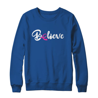 Believe Breast Cancer Awareness Fight T-Shirt & Sweatshirt | Teecentury.com