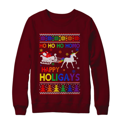 Ho Ho Ho Santa Riding Unicorrn Happy Holigays LGBT T-Shirt & Sweatshirt | Teecentury.com