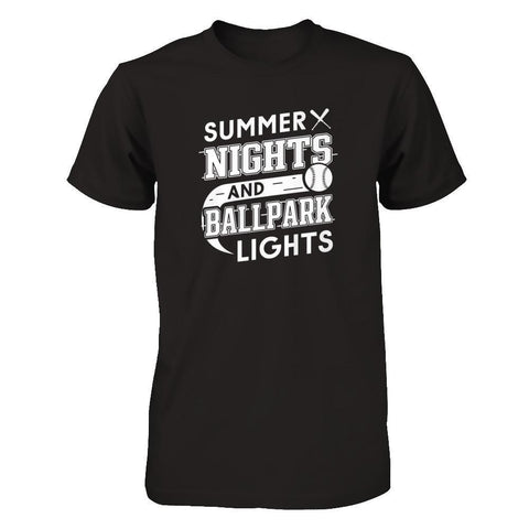 Summer Nights Ballpark Lights Baseballs T-Shirt & Hoodie | Teecentury.com
