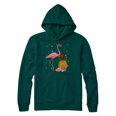 Santa Flamingo Hawaiian Pineapple Christmas Gifts T-Shirt & Sweatshirt | Teecentury.com