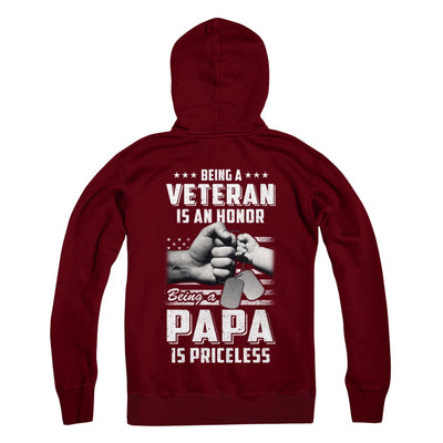 Being A Veteran Is An Honor Being A Papa Is Priceless T-Shirt & Hoodie | Teecentury.com