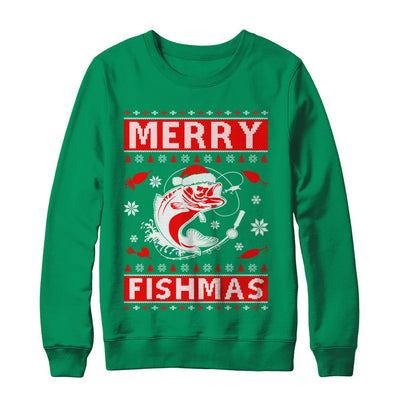 Merry Fishmas Fishing Fish Christmas Sweater T-Shirt & Sweatshirt | Teecentury.com