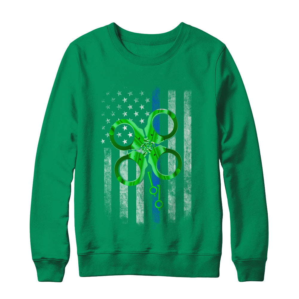 b107facd Thin Blue Line Police St Patrick's Day Clover Shirt & Hoodie ...