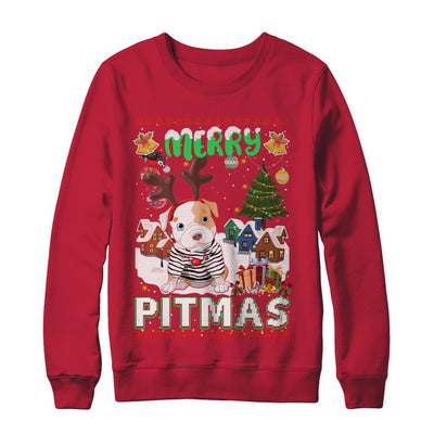 Cute Pitbull Christmas Merry Pigmas Ugly Sweater Christmas T-Shirt & Sweatshirt | Teecentury.com