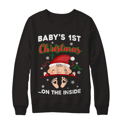 Baby's 1St Christmas On The Inside Pregnant T-Shirt & Sweatshirt | Teecentury.com