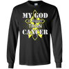 My God Is Bigger Than Cancer Yellow Awareness Ribbon T-Shirt & Hoodie | Teecentury.com