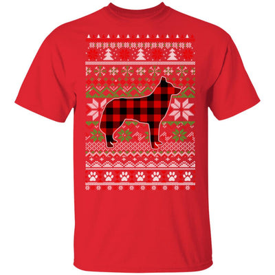 Siberian Husky Red Plaid Ugly Christmas Sweater Gifts T-Shirt & Sweatshirt | Teecentury.com