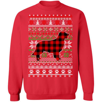 Golden Retriever Red Plaid Ugly Christmas Sweater Gifts T-Shirt & Sweatshirt | Teecentury.com