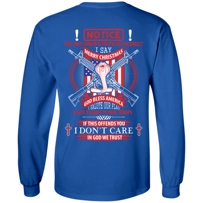 I Am Politically Incorrect I Say Merry Christmas God Bless America T-Shirt & Hoodie | Teecentury.com