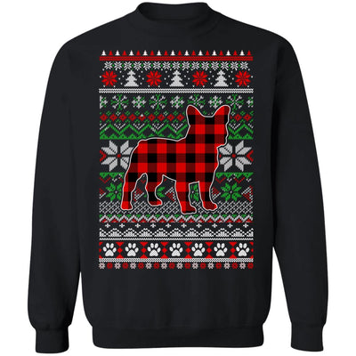 French Bulldog Red Plaid Ugly Christmas Sweater Gifts T-Shirt & Sweatshirt | Teecentury.com