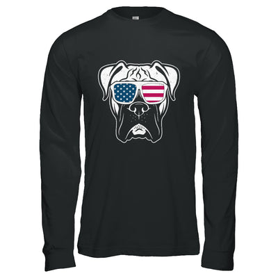 Boxer Dog American Flag Glasses 4Th Of July T-Shirt & Hoodie | Teecentury.com